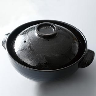 HOME COORDY ふち高土鍋 黒釉