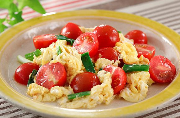 ミニトマトと卵のふわとろ炒め